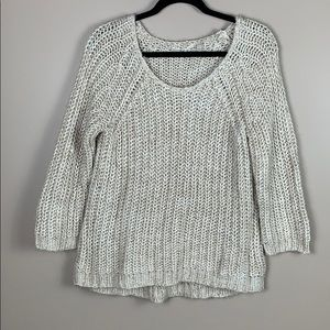 Anthropologie cream and tan knit sweater lg